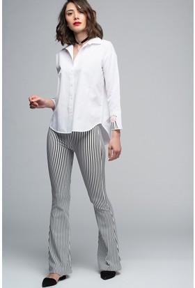 Womenice Çizgili Pantolon
