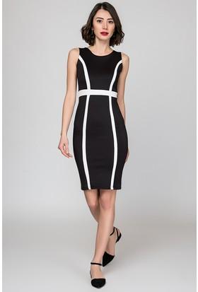 Womenice Kolsuz Kontrast Bant Elbise