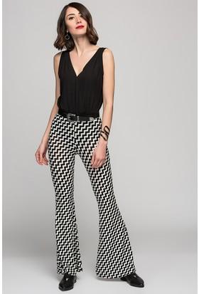 Womenice Zigzag Baskılı İspanyol Paça Pantolon