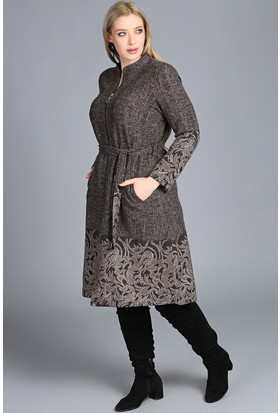 Trend Plus Etek Kol Ucu Şal Desen Fermuarlı Cepli Kadın Ceket