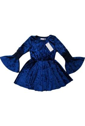 DobaKids - Çocuk Koları Güpürlü Kadife Elbise - İspanyol Kol