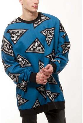 Moschino Erkek Mavi Sweatshirt