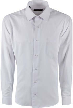 Sabri Özel 3518 Düğmesiz Yaka Cepli Klasik Kesim Gömlek
