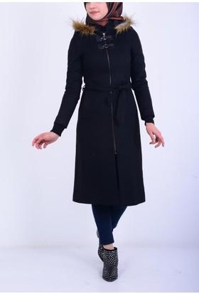 Şima Kadın Kapüşonlu Kürklü Kaban 17-2B521007