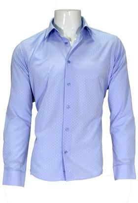 Megaldi Erkek Gömlek Açık Mavi Armürlü 30282