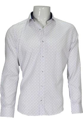Megaldi Erkek Gömlek Beyaz Puanlı 30297