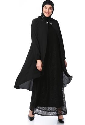 Zencefil Bayan Uzun Dantel Elbise Üstü Şifon Uzun Gömlek Tesettür Abiye Düğün Nişan