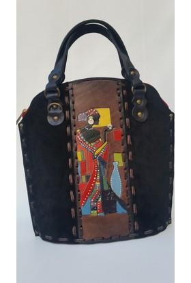 By.dilekkalin Siyah Süet Afrikalı Kadın