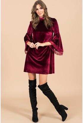 İroni Kolları Volanlı Kadife Elbise - 3942-1145 Bordo