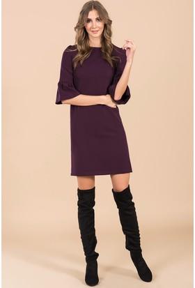 İroni İspanyol Kollu Mini Elbise - 5056-891 Mürdüm