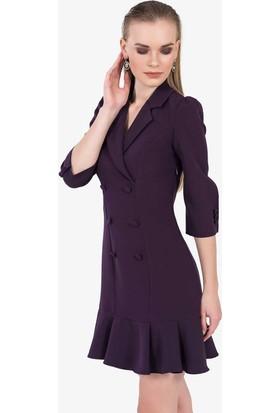 İroni Volanlı Blazer Elbise - 5131-891A Mor