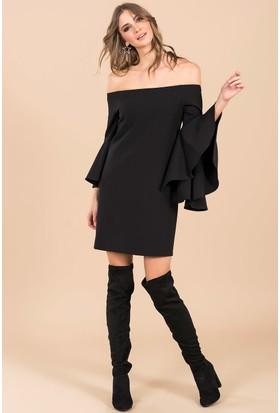 İroni Kolları Uzun Volanlı Elbise - 5144-891 Siyah