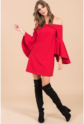 İroni Kolları Uzun Volanlı Elbise - 5144-891 Kırmızı
