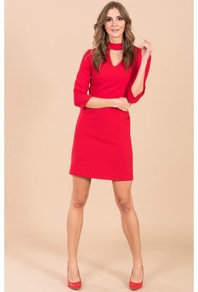 İroni Choker Detaylı Mini Elbise - 5150-891 Kırmızı