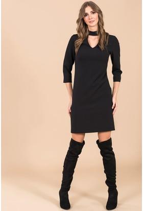 İroni Choker Detaylı Mini Elbise - 5150-891 Siyah