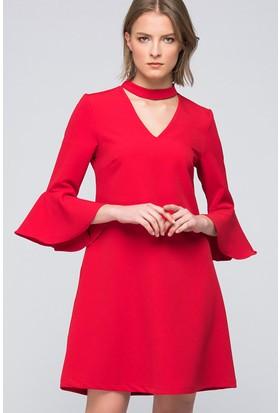 İroni Choker Yaka Volanlı Elbise - 5151-891 Kırmızı