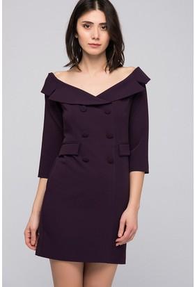 İroni Geniş Yakalı Blazer Elbise - 5153-891 Mor