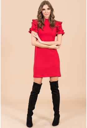 İroni Fırfır Kollu Elbise - 5156 - 1202 Kırmızı