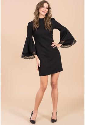 İroni Dik Yaka Dantel Kollu Elbise - 5158-891 Siyah