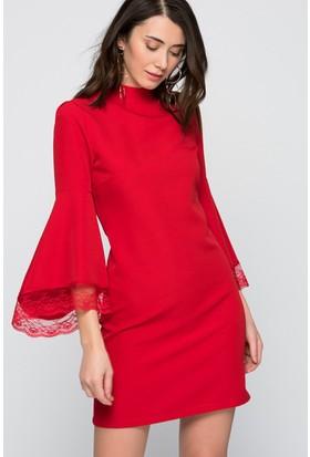 İroni Dik Yaka Dantel Kollu Elbise - 5158-891 Kırmızı