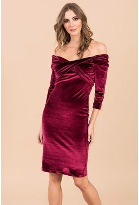 İroni Omuz Bantlı Kadife Kalem Elbise - 5160-1145 Bordo