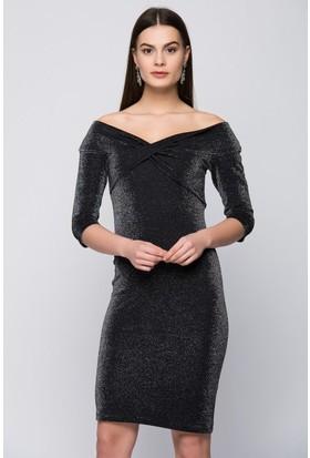 İroni Omuz Bantlı Simli Kalem Elbise - 5160-1218 Siyah