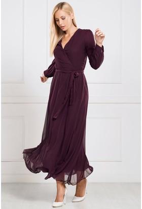 İroni Uzun Şifon Elbise - 5813-308A Mürdüm