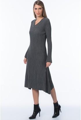 İroni İncili V Yaka İspanyol Kol Elbise - 991439-Acnfs Antrasit