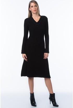 İroni İncili V Yaka İspanyol Kol Elbise - 991439-Acnfs Siyah