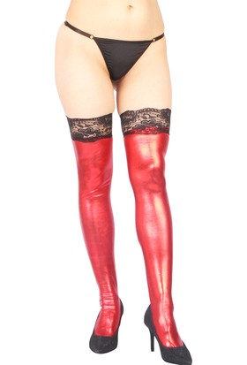 Vixson Dantelli Kırmızı Deri Görünümlü Parlak Fantazi Çorap