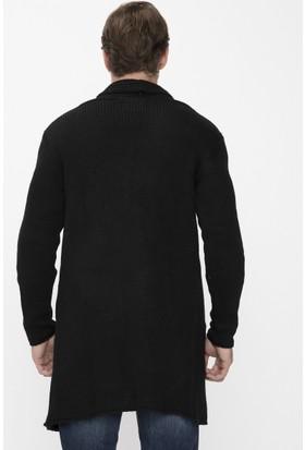 Xint Mcl Açık Yaka Siyah Uzun Triko Hırka