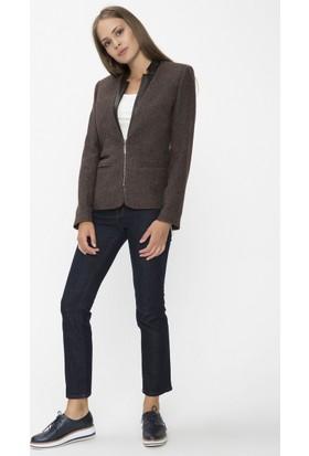 Xint Açık Yaka Kahverengi Ceket