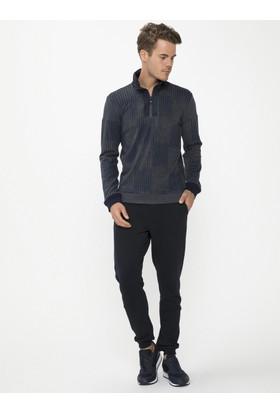 Xint Dik Yaka Lacivert Sweatshirt
