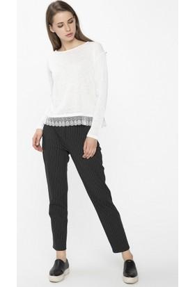 Xint Yüksek Belli Çizgili Siyah Pantolon