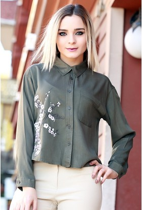 Zemin Giyim Kenarı Nakışlı Gömlek-1008