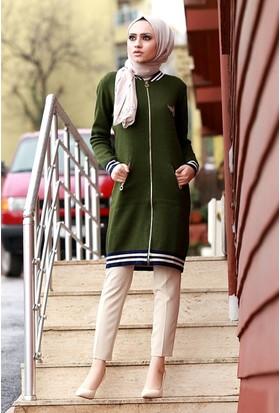 Zemin Giyim Armalı Kolej Uzun Ceket-1452