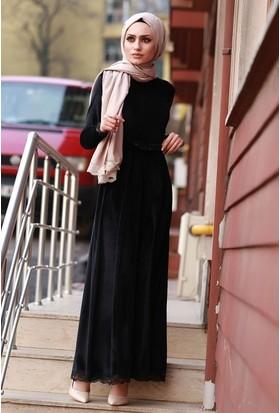 Zemin Giyim Eteği Kolu Dantelli Kadife Elbise-4002