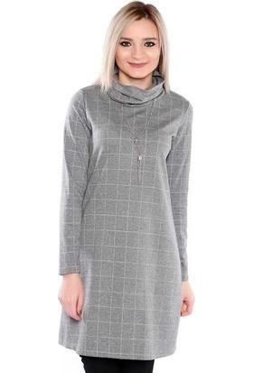 Zemin Giyim Degaje Yaka Kolyeli Elbise-2357