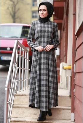 Zemin Giyim Uzun Kareli Elbise-5106