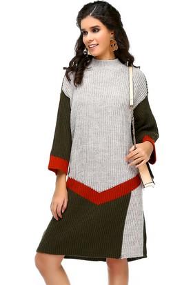 Bonalodi Selanik Örme Renkli Boğazlı Haki Turuncu Desen Kadın Tunik Elbise