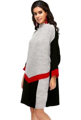 Bonalodi Selanik Örme Renkli Boğazlı Kırmızı Siyah Desen Kadın Tunik Elbise