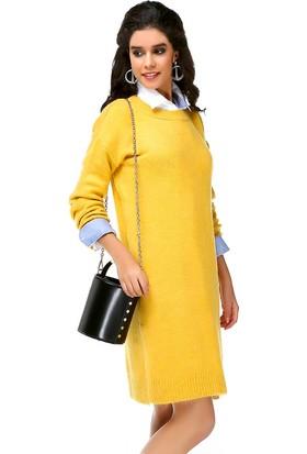 Bonalodi Şardonlu Yırtmaçlı Örme Sarı Kadın Tunik Elbise