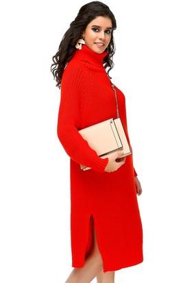 Bonalodi Degaje Yaka Kalın Örme Narçiçeği Kadın Elbise Tunik