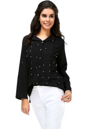 Bonalodi İnci Detaylı Siyah Kadın Gömlek