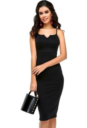 Bonalodi Göğüs Dekolte Diz Altı Kalem Siyah Kadın Elbise