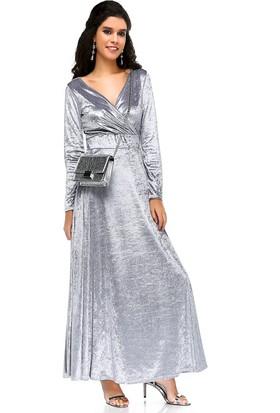 Bonalodi Kruvaze Yaka Maxi Kloş Gümüş Kadife Kadın Uzun Elbise