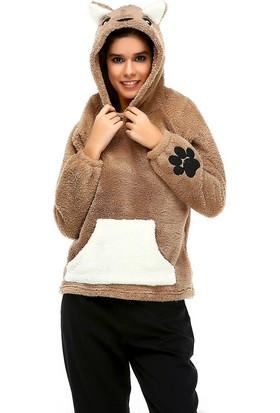 Bonalodi Sevimli Pati Kulak Detaylı Peluş Kadın Sweatshirt