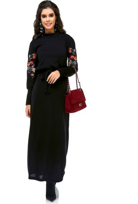 Bonalodi Balon Kol Nakış Detay Triko Kumaş Siyah Uzun Kadın Elbise