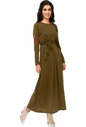Bonalodi Kol Nakış Detaylı Maxi Uzun Haki Kadın Elbise
