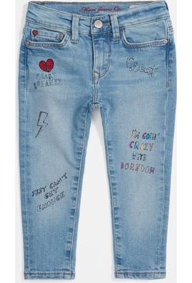 Mavi Kız Çocuk Lara Açık Baskılı Icon Jean Pantolon